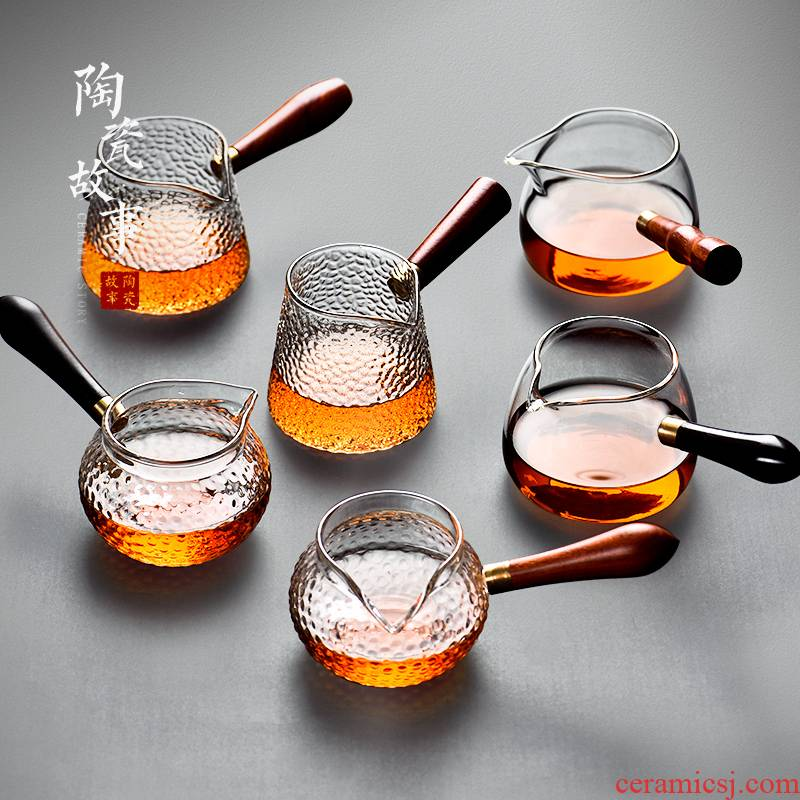 Ceramic fair story cup glass) with a body suit high - end tea sea - a single side of high temperature resistant to points