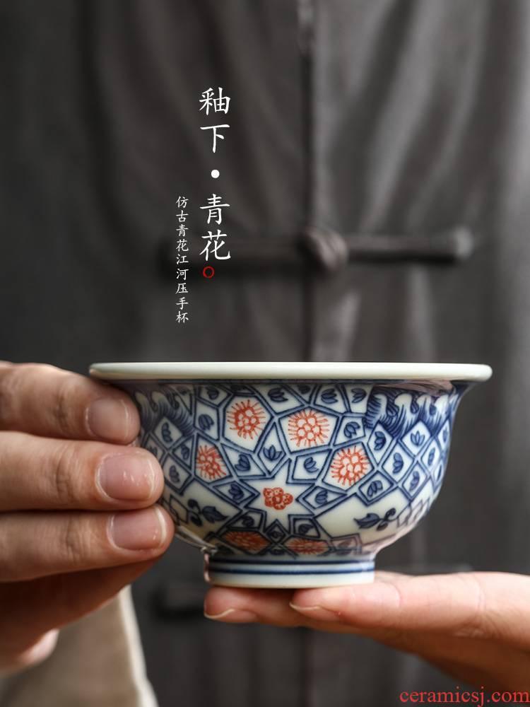 Pure manual jingdezhen blue and white master kung fu tea cup single CPU hand - made ceramic sample tea cup cup men 's single pressure hand