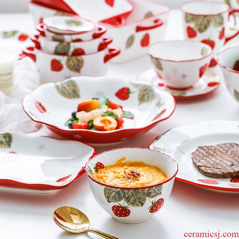 The Nordic idea, lovely strawberry ceramic tableware web celebrity home baking bowl dish dish soup bowl with rainbow such as bowl a salad bowl