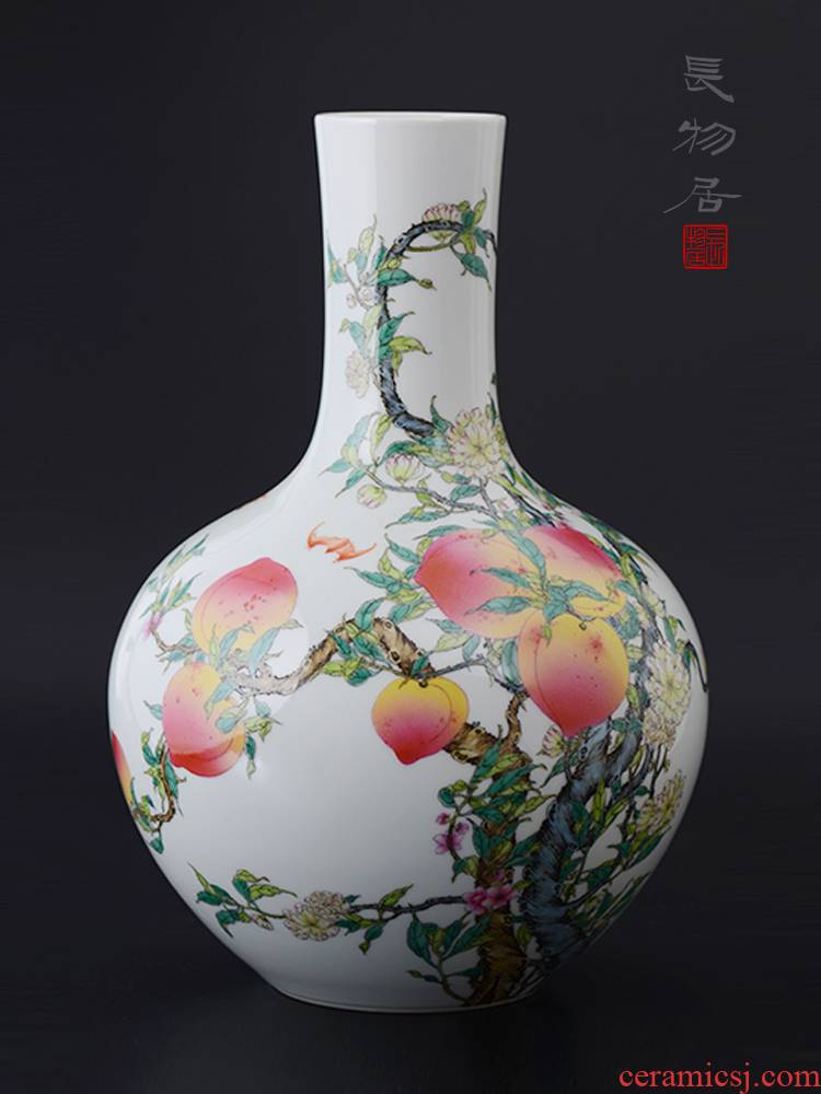 Offered home - cooked high imitation hand - made pastel peach nine live tree jingdezhen ceramic vases, flower is placed by hand