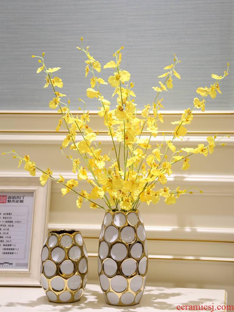 Light Jane European key-2 luxury sitting room adornment ceramics porch dried flower vase water raise modern household adornment furnishing articles of handicraft