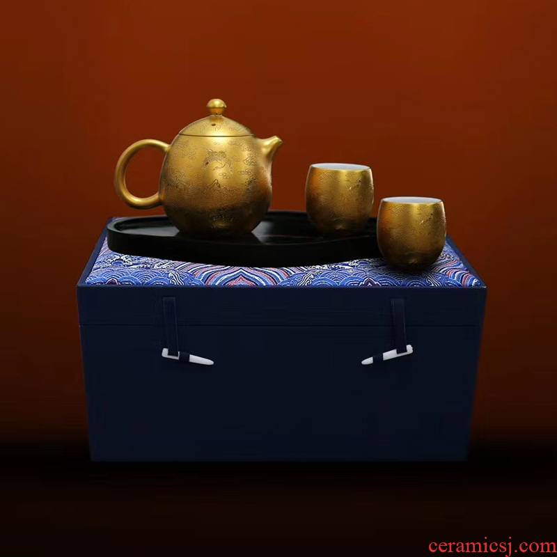 Portable travel tea set a pot of two cups of jingdezhen ceramic paint manual pick flowers kung fu tea tureen