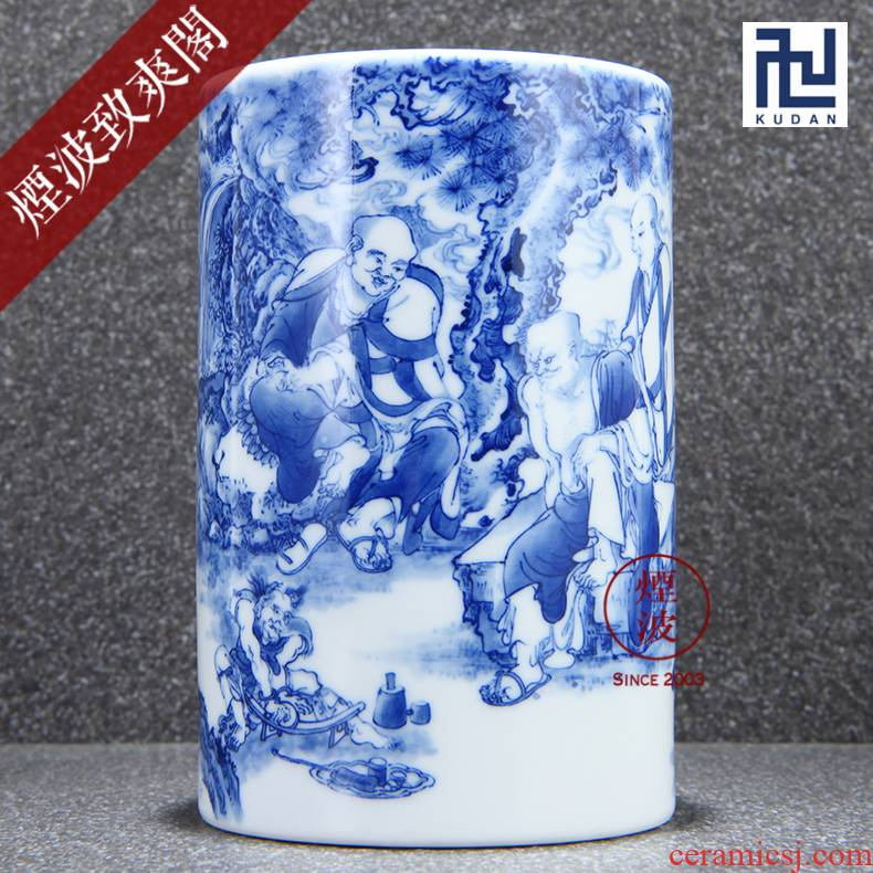 Those jingdezhen nine calcinations nine sections of the ocean 's admirable green glaze hand - made of blue and white porcelain brush pot tea tin