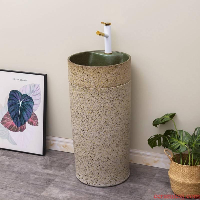 Ceramic household basin of pillar type lavatory toilet balcony floor column integrated is suing patio sink basin