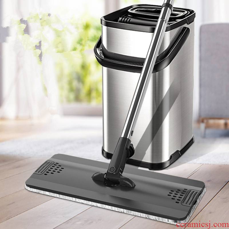 Free hand wash the mop net household mop stainless steel wood floor tile yituo dry wet amphibious mop an artifact