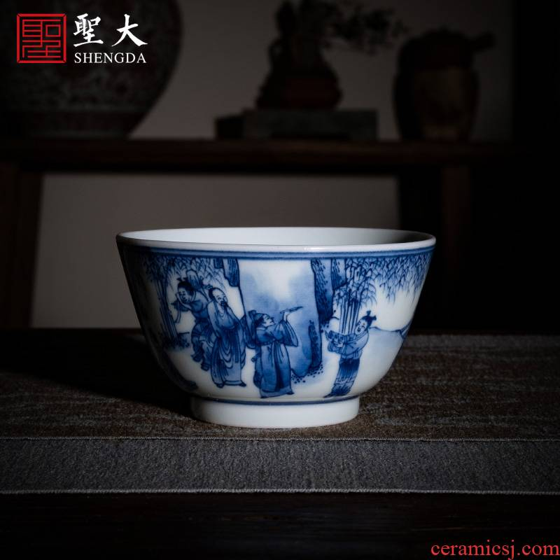 """Holy big ceramic kung fu tea cups jingdezhen blue and white """"seven sages and poly real"""" pure manual hand - made master cup sample tea cup"""