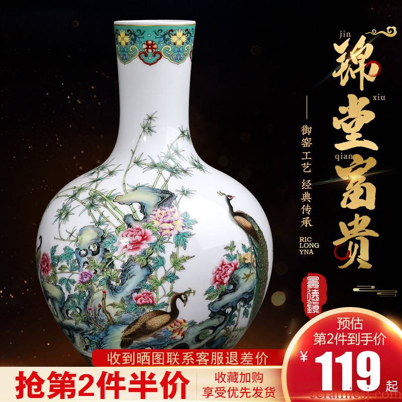 Jingdezhen ceramics archaize peacock figure vase furnishing articles of Chinese style living room home rich ancient frame TV ark, adornment