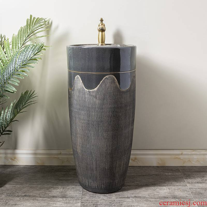 Ceramic column basin restoring ancient ways of household toilet lavatory basin sink balcony is suing floor one column 2