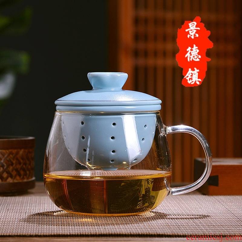 Qiao mu JDL office kung fu tea cups and elegant glass ceramic heat - resistant glass tea set tea cup with lid