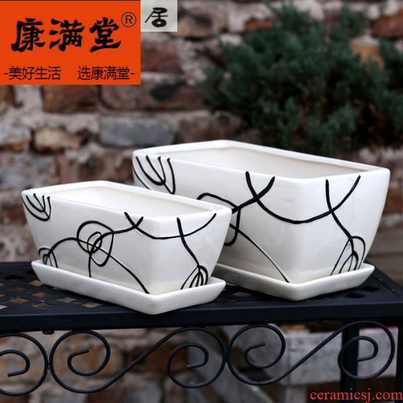 Big flower vase tree green seedling tray butterfly orchid rectangle fission household white porcelain ceramic flower pot small basin in China