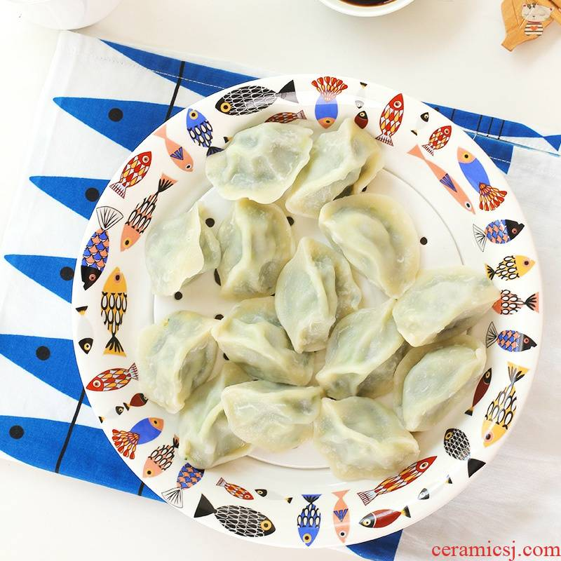 Yu, ceramic tableware, double drop round home deep large dumpling dish dish dish steamed fish dish dishes dumplings