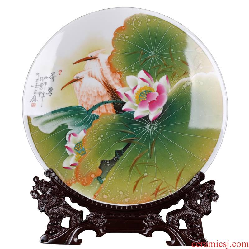 Jingdezhen ceramic vases hang dish of new Chinese style decoration plate of the sitting room TV ark, furnishing articles furnishing articles hand - made sat dish household