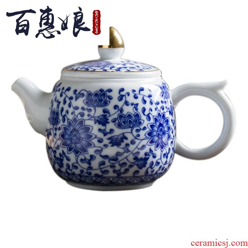 (see colour blue and white niang hand bound branch lotus jingdezhen ceramic tea set kung fu tea set household of a complete set of