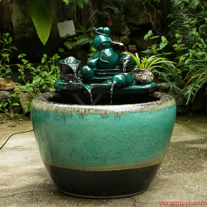Up with jingdezhen ceramic tank automatic cycle water put small sitting room fountain lucky fish bowl and a goldfish bowl