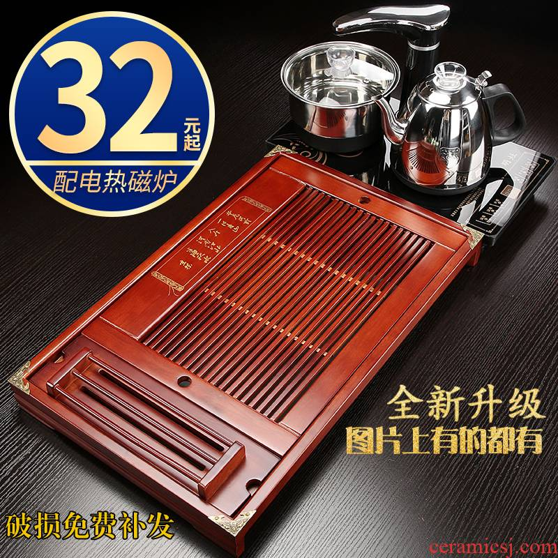 Hui shi kung fu tea sets tea tea set electric magnetic furnace solid wood tea tray household contracted ceramic cups D