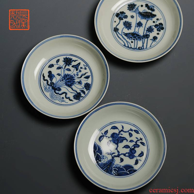 Offered home - cooked ju long up controller imitation jintong hand - made ceramic tea tray saucer archaize of jingdezhen blue and white caps