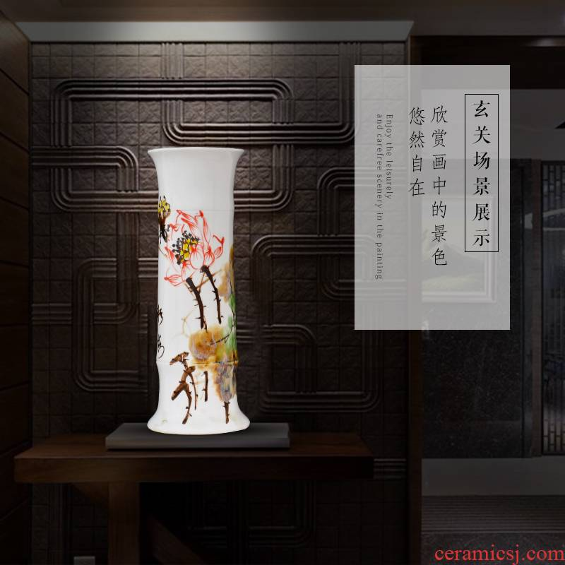 Jingdezhen ceramic lucky bamboo vase furnishing articles sitting room more tall, be born straight hydroponic flower arrangement