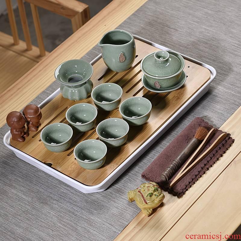 Hui shi kung fu tea set suit household contracted office melamine tray ceramic purple sand teapot teacup tea tea taking