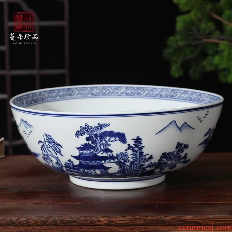 Jingdezhen porcelain bowl 30 extra large caliber porcelain bowl of blue and white porcelain porcelain bowl