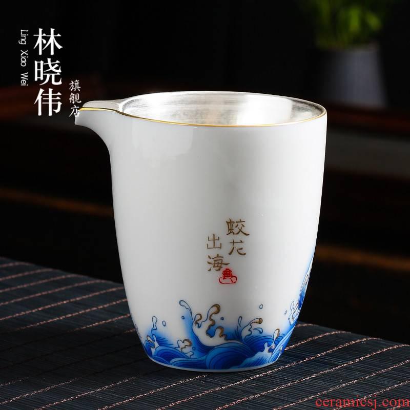 Tasted silver gilding manual hand - made white porcelain paint ceramic fair keller points is contracted kung fu tea tea tea tea accessories sea