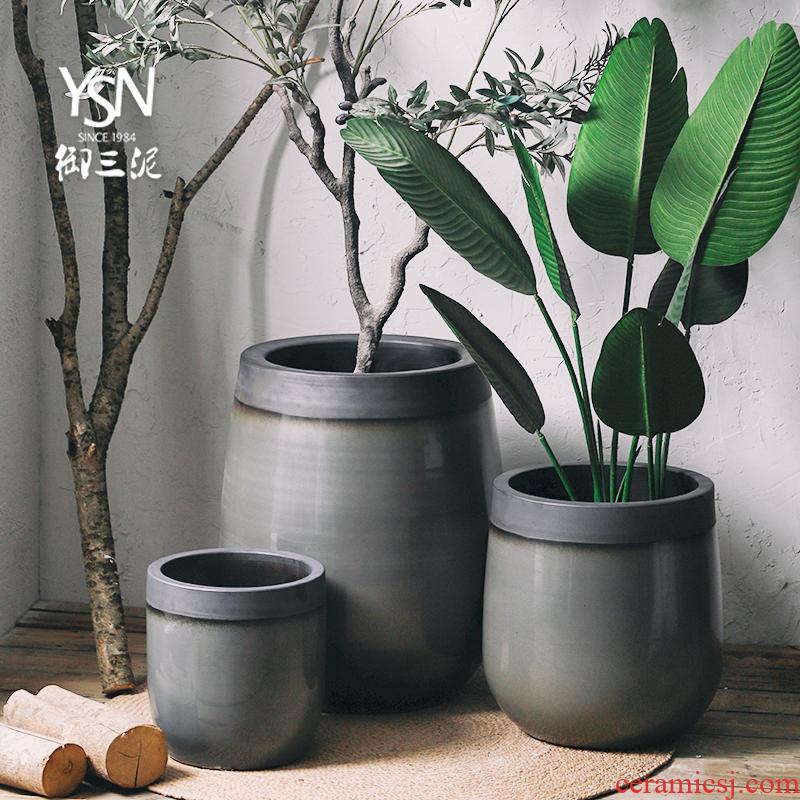 Green landscape garden decorative flower arranging flower bed place large ceramic vase landing creative Nordic flowerpot