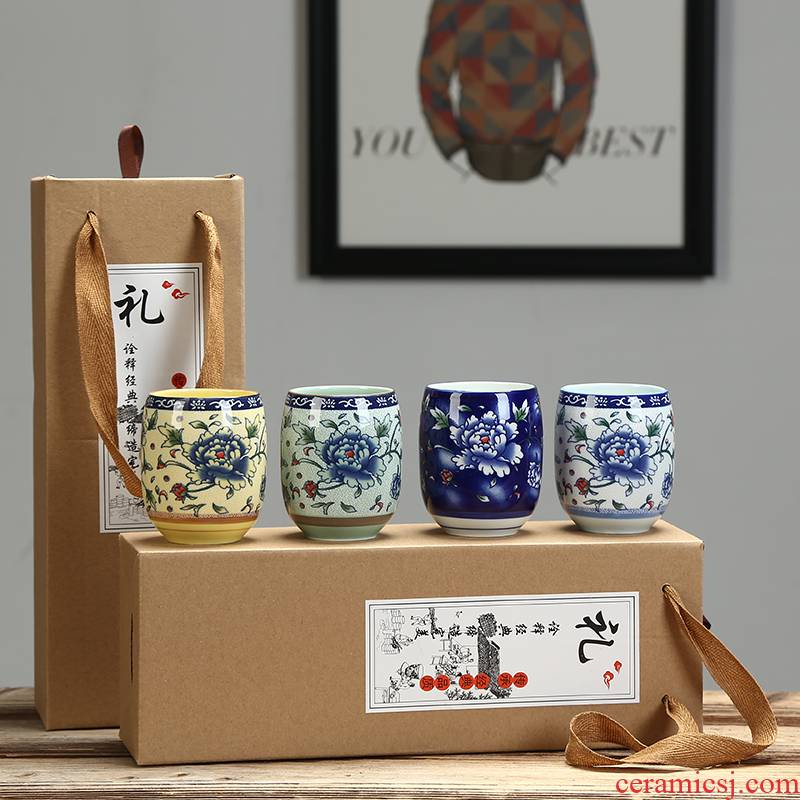 Large ceramic gifts cup cup masters cup retro blue and white porcelain glass box office household porcelain cups
