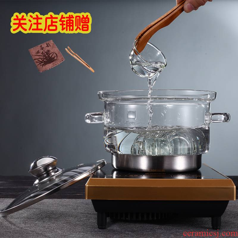 Heavy glass tea wash with cover large boiled cup machine electric TaoLu induction cooker heating disinfection of tea pot