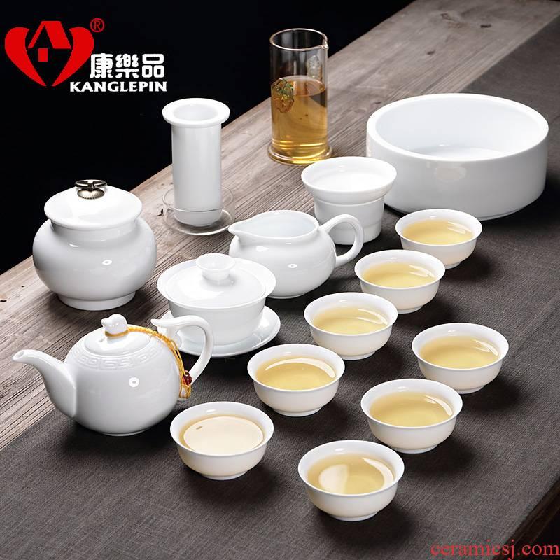 Recreational product ceramic tea set white porcelain kung fu tea mercifully tea tea sets tureen teapot household of Chinese style tea cups
