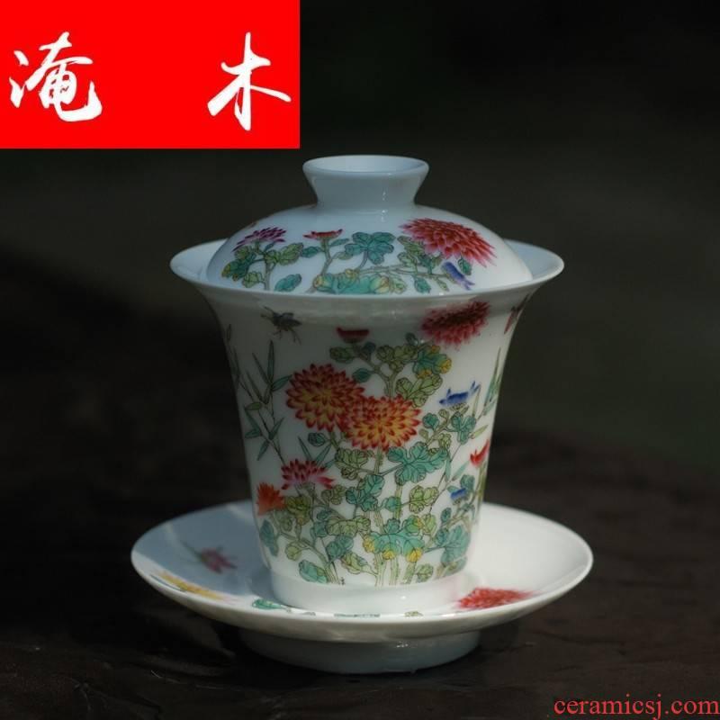 Flooded wood specials hand - made famille rose flower butterfly tureen jingdezhen ceramic checking porcelain high tureen tea set