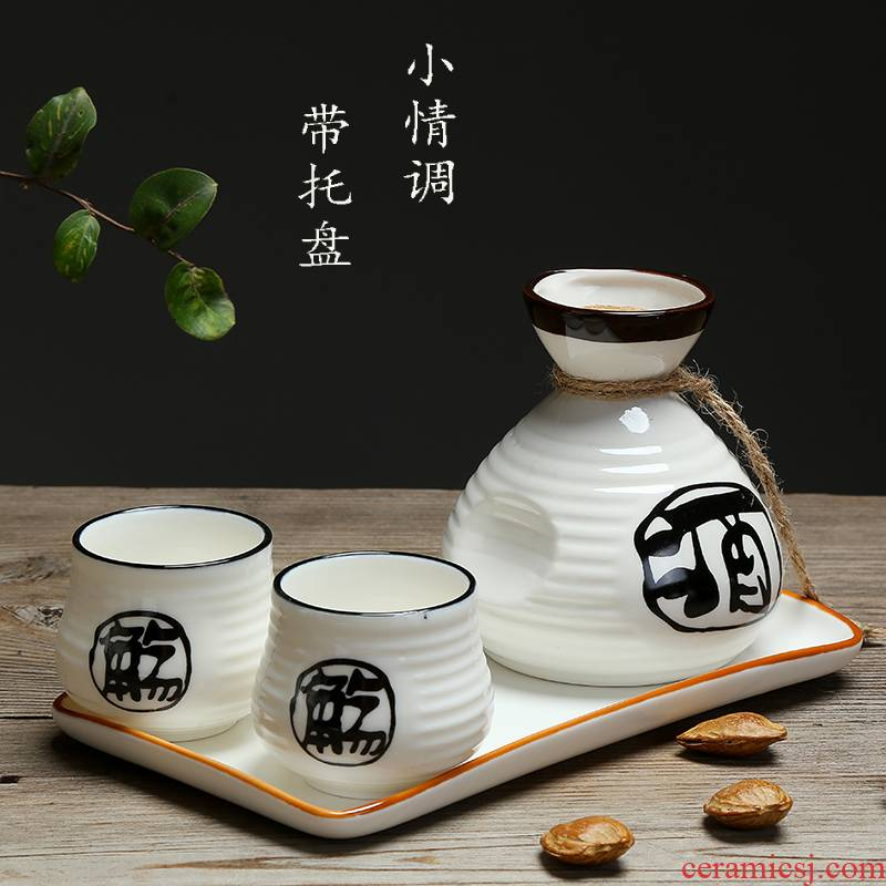 Japanese wine and wine little suit points clear glass ceramic perm hip flask half jins tray with a small handleless wine cup wine glasses