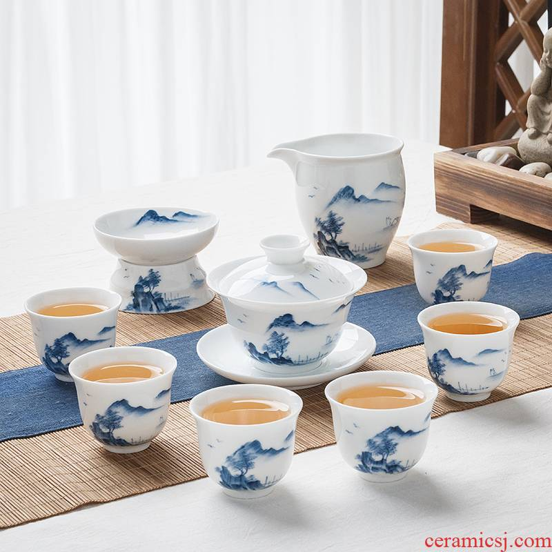 Jingdezhen ceramic hand - made kung fu tea set of blue and white porcelain household tureen tea cups white porcelain small set of living room