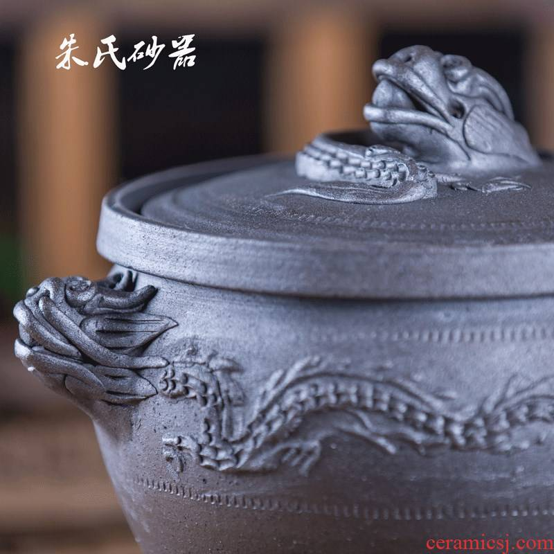 Jade - like stone approved by travelling the casserole Xing by sand earthenware cooking pot zhu desander soil Shang Jiankang boiler high temperature resistant auspicious dragon casserole