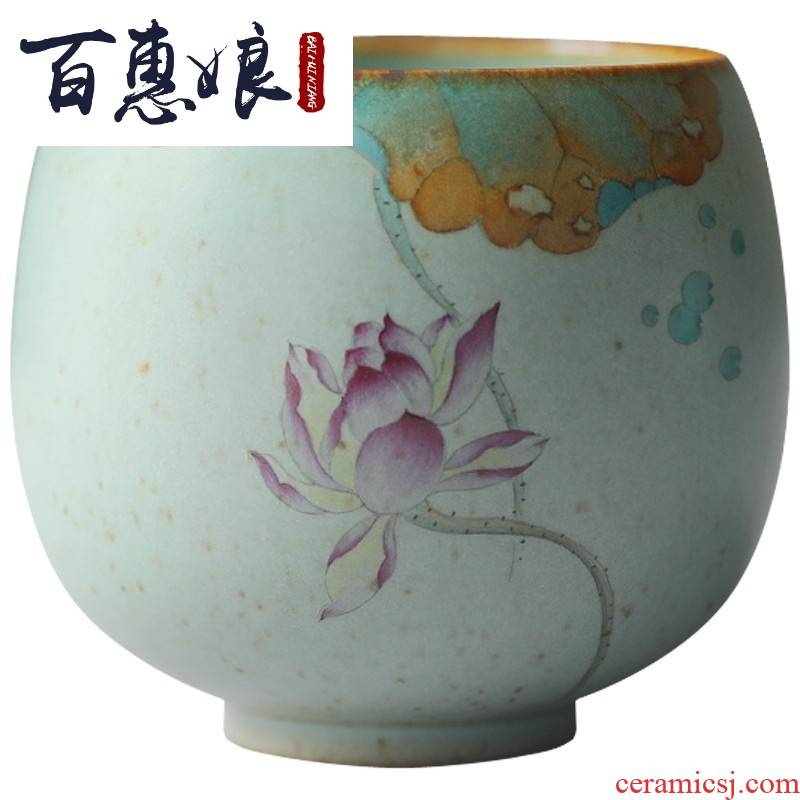 (niang mud - your up blue hand - made manual coarse pottery jingdezhen ceramic masters cup tea cups sliced open large work