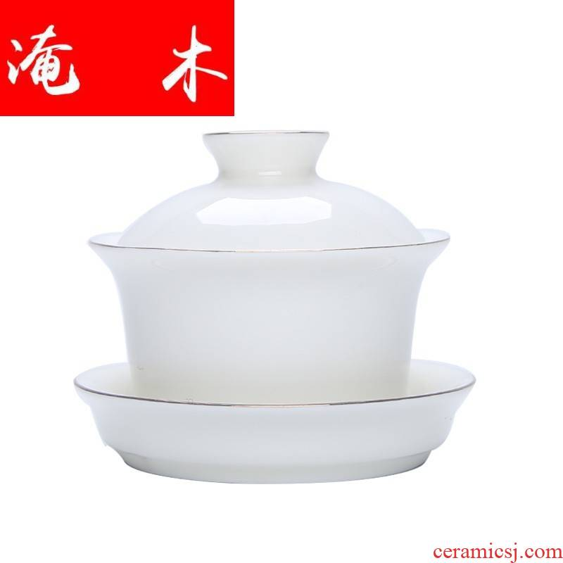 Submerged wood paint from lard white ceramic only three tureen tea bowl of white porcelain of China kung fu tea set personal custom logo