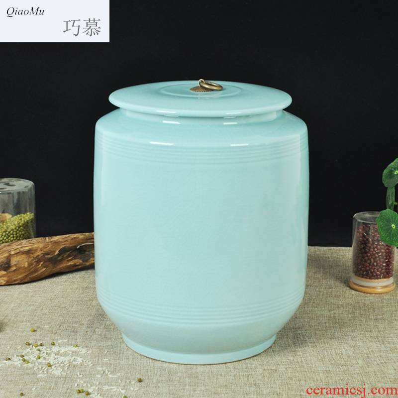 Qiao mu ceramic barrel ricer box with cover cylinder storage tank water tea cake home moistureproof insect - resistant pickles cylinder expressions using