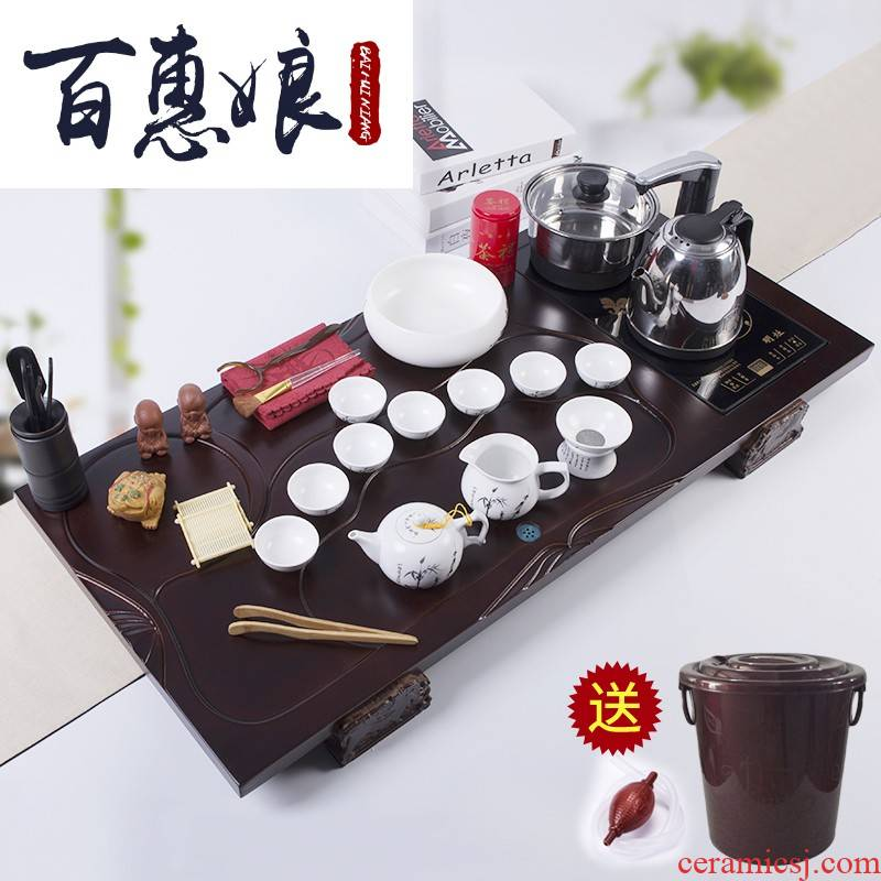 (niang kung fu tea sets tea tray was home solid wood tea table of a complete set of electric kettle ceramic teapot