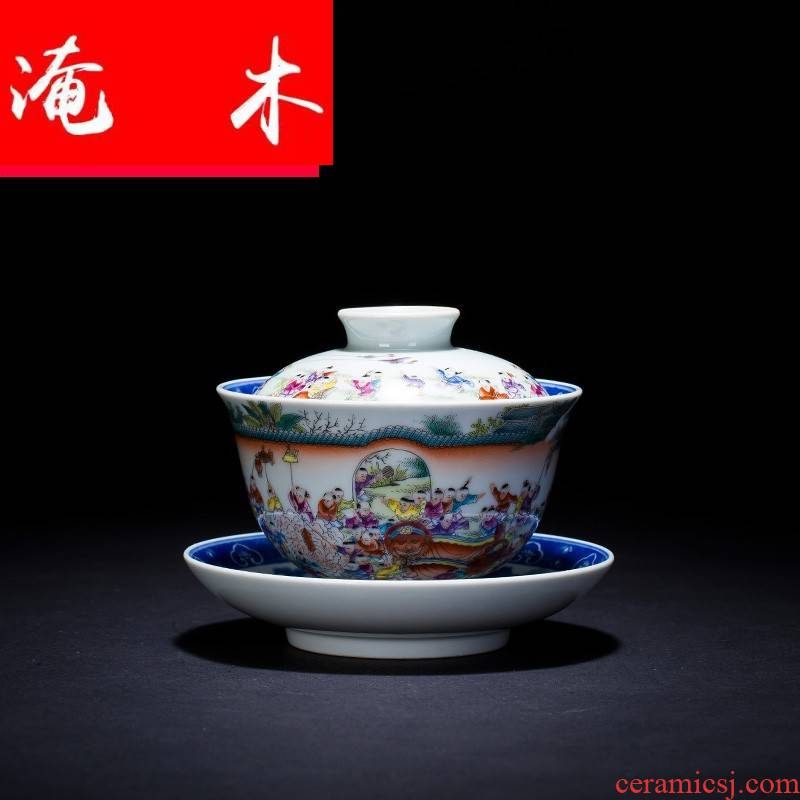 Flooded three to blue and white landscape pastel tureen teacups hand - made wooden figure always jingdezhen tea set the ancient philosophers