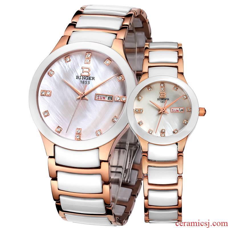 Authentic BINGER accusative watches for men and women watch quartz ceramic lovers watch waterproof watch harbour mei Jin Bai