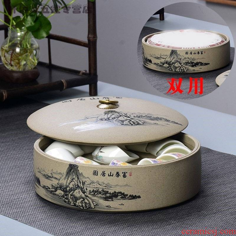 Coarse ceramic containers of tea cups with cover the wash cup basin to put cups of tea boxes with cover shengchan dui