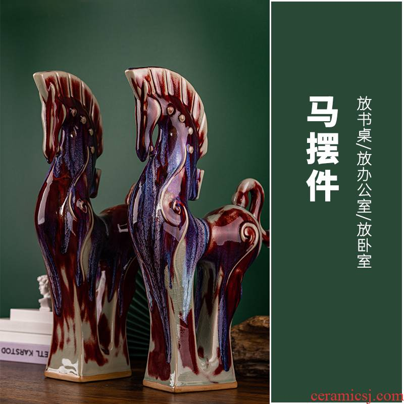 Ceramic horse furnishing articles, the sitting room is the study of new Chinese style bookshelf rich ancient frame decorative arts and crafts furnishings office process