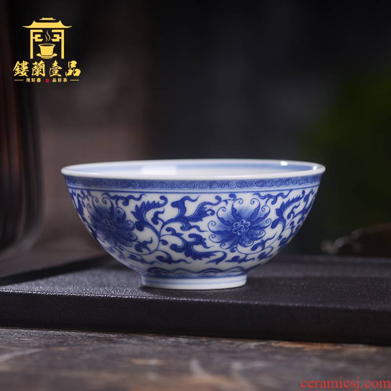 Art home benevolence blue tie up all hand - made single branch lotus masters cup of jingdezhen ceramics cup kung fu tea set personal tea cup