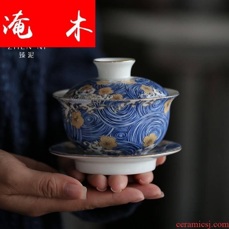 Submerged wood jingdezhen three to bowl of blue and white porcelain enamel tureen checking enamel household kung fu tea worship