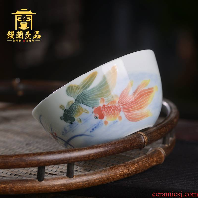 Jingdezhen ceramic all hand - made pastel goldfish kung fu master cup of individual household sample tea cup tea cup tea cups