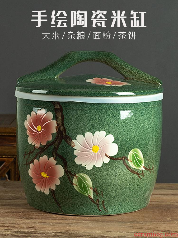Jingdezhen hand - made ceramic barrel with cover home 10 jins 20 jins 30 to old flour barrels of insect - resistant seal pot