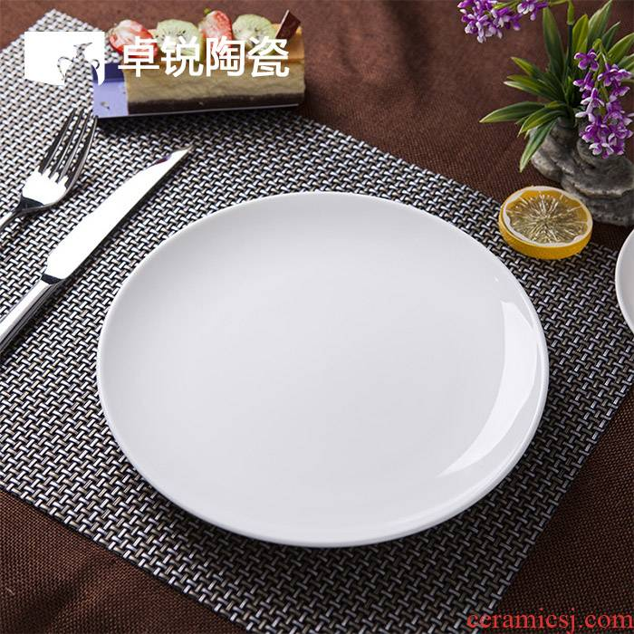 Pure white meat dishes western food steak plate household hotel flat dish plate round ceramic hotel shallow white porcelain