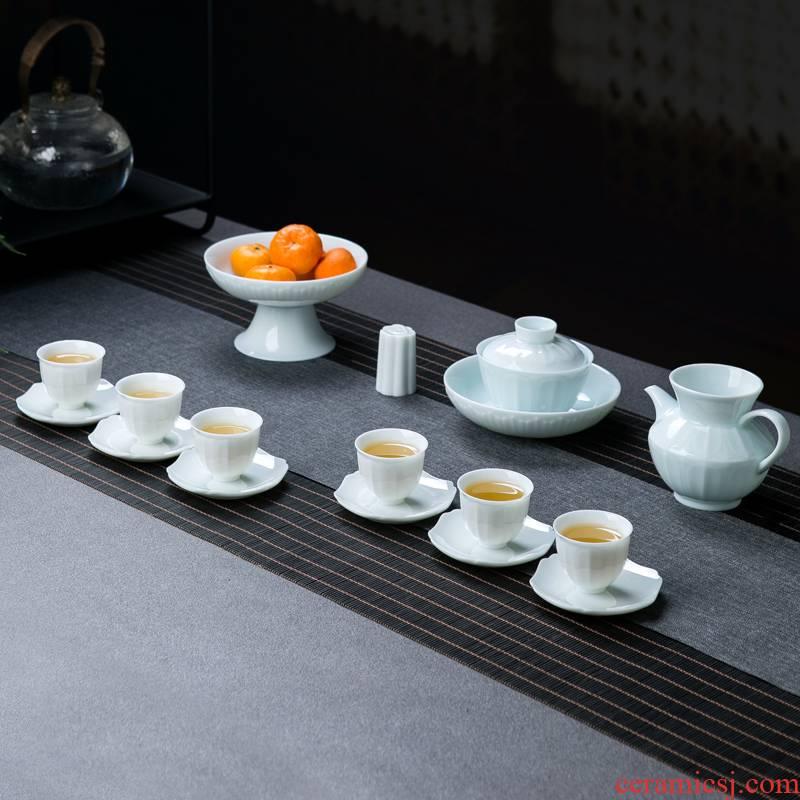 Tea sets Tea cup high - grade small set of home sitting room bluish white porcelain of jingdezhen ceramics contracted kunfu Tea