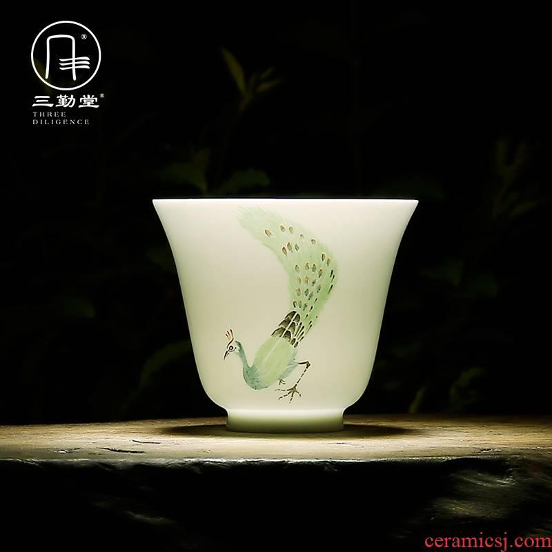 The three regular sample tea cup kung fu tea cups of jingdezhen ceramic tea set pastel master cup single CPU S42068 matte enrolled white