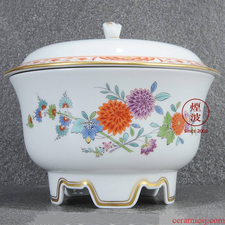 German mason MEISSEN porcelain Paris series of coloured drawing or pattern Indian painting of flowers and cookies box of candy box POTS