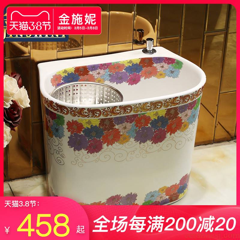 The Mop pool balcony toilet wash Mop pool ceramic household large basin floor type double drive