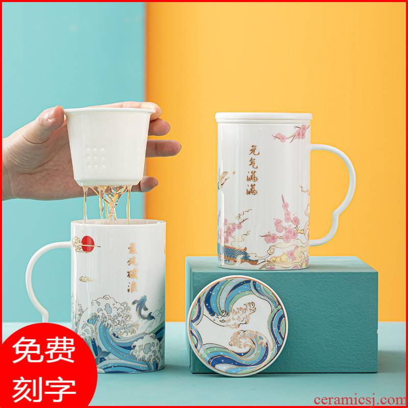 Office of pottery and porcelain cup with the mark cup of creative move trend girl heart cup cup with cover the tea cups separation